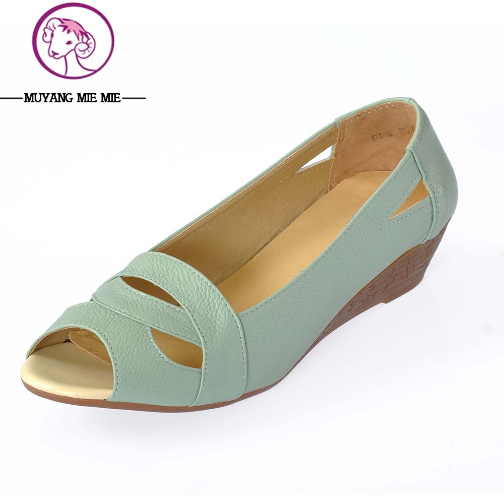 MUYANG MIE MIE Summer  2017 Genuine Leather Wedge Shoes Woman Open Toe Comfortable Casual Wedges Women Sandals Plus Size 35-43 summer wedges shoes woman gladiator sandals ladies open toe pu leather breathable shoe women casual shoes platform wedge sandals