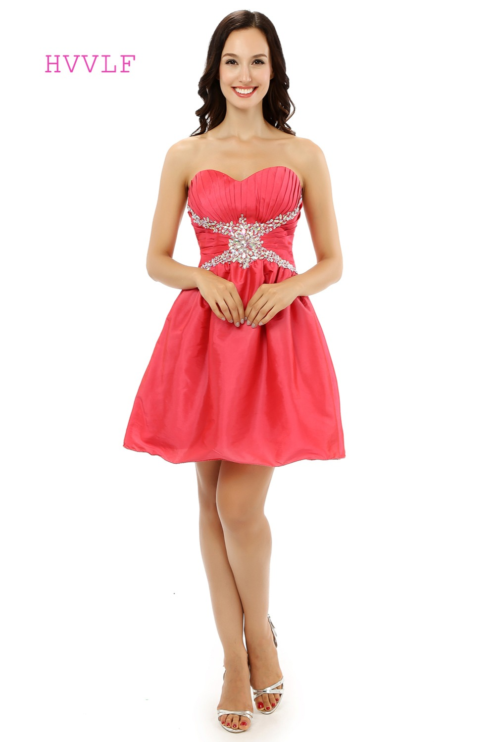 Red Homecoming   Dresses   A-line Sweetheart Satin Beaded Crystals Short Mini Sparkly Sweet 16   Cocktail     Dresses   2019