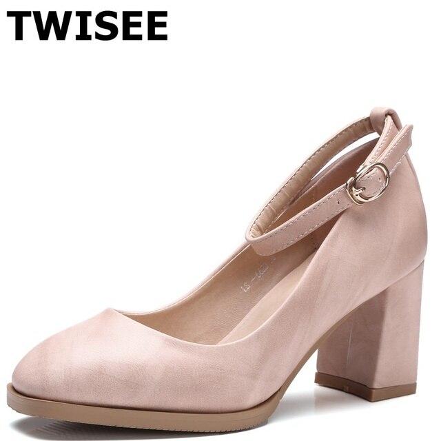 b1a49d910be Med zapatos de tacón 7 cm zapatos Cómodos mujeres femme chaussure tacones  altos zapatos Casuales Hebilla