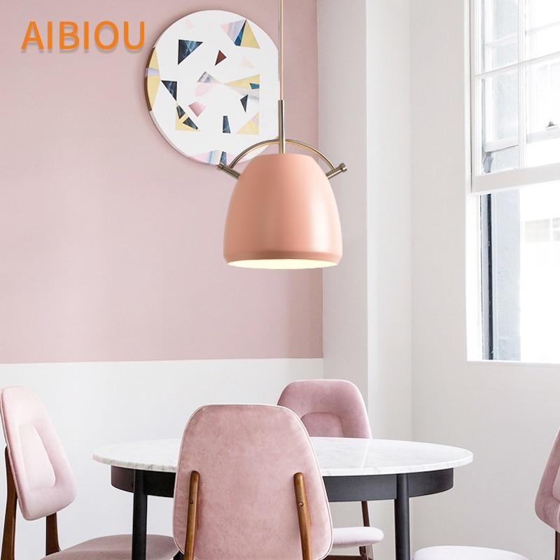 AIBIOU Designer LED Pendant Lights For Dining Colorful Pendant Lamp E27 Bar Light Kitchen Hanging Lighting Fixtures in Pendant Lights from Lights Lighting