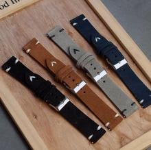 Onthelevel genuine retro leather suede watchband18mm/20mm/22mm black/Grey/Brown/Dark Blue Stainless Steel Buckle 2018 New
