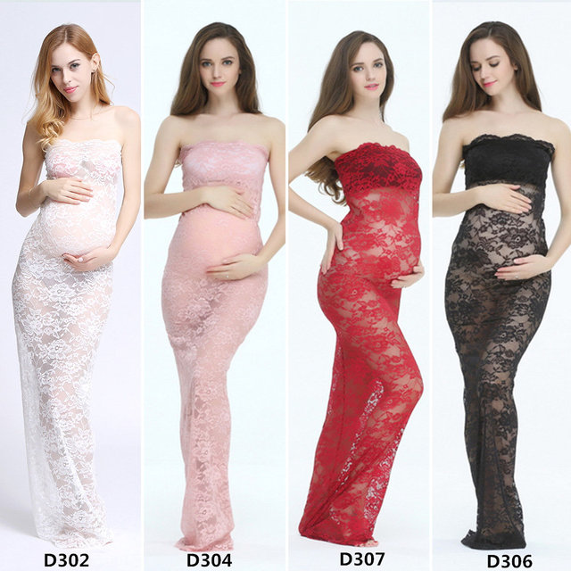 Stretch Lace Tube Dress for Pregnant Mom