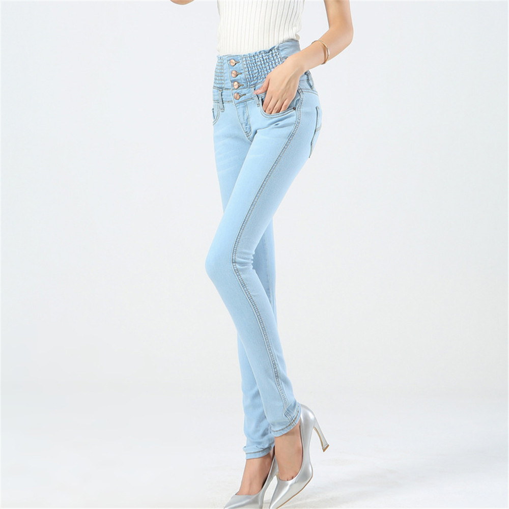 High Waist Jeans Woman Plus Size Fashion Cotton Elastic Abdomen Tight Button Women Jeans Mujer Jean Femme Denim Spodnie Damskie