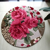 Round rug Red rose carpets for Living room Mat Rug/ Shaggy carpet for Bedroom mats /