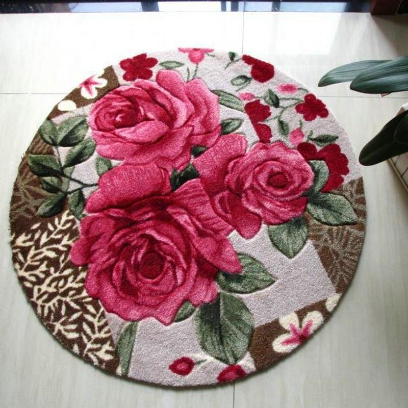Tapis rond tapis rose rouge pour tapis de salon/tapis Shaggy pour tapis de chambre/
