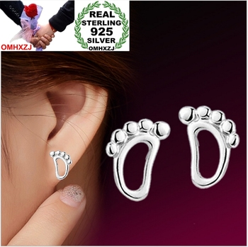 Contracted style Trace the footprints small foot Real 925 sterling silver Stud earrings