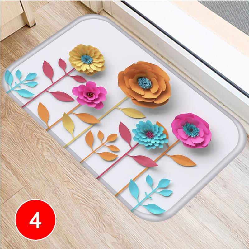 Flower Pattern Floor Mat Carpets Floor Rug Kitchen Living Bathroom Non-slip Backing DC120