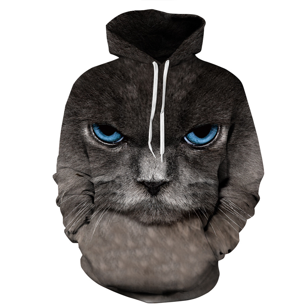 Fashion sells hot style black cat professional digital printing oversized hooded hoodies