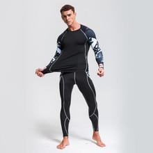 Для мужчин сжатия рубашка vanquish Фитнес Нижнее белье Леггинсы Для мужчин Костюмы Пот Костюмы Спортивный костюм спортивн