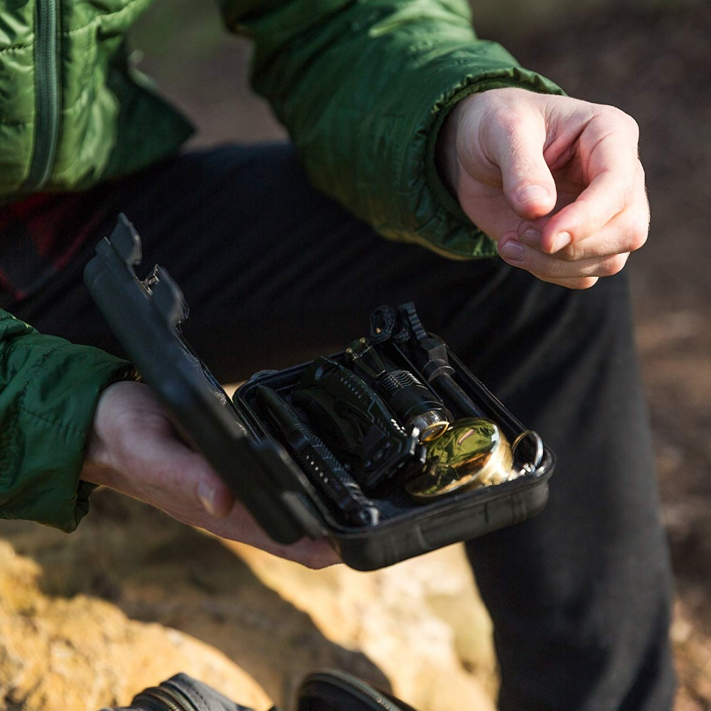 Outdoor tools Survival 11 in 1 Camping tourism Survival Gear Kits Portable Emergency Survival Multi Tools Whistle compass knife (4)