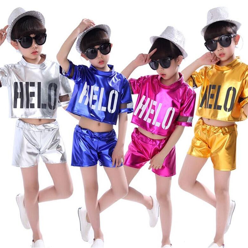 Girls Sequined Modern Jazz Hip Hop Dancewear Tops+Pant Kid's Party Dance Costumes Stage Wear Dancewear DS Dancing Outfits