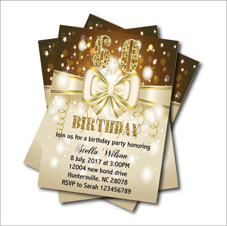 20 pcs Custom Butterfly Bow 60th Birthday Invitations Adult 20th30th ...