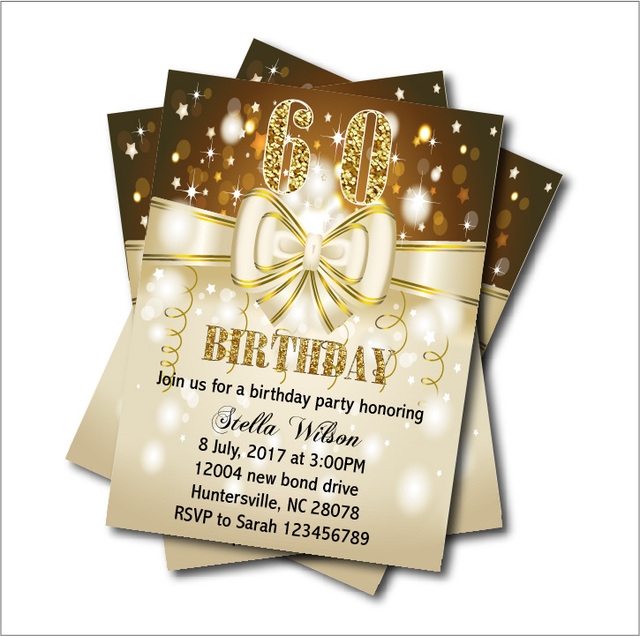 20 pcs Custom Butterfly Bow 60th Birthday Invitations Adult 20th30th