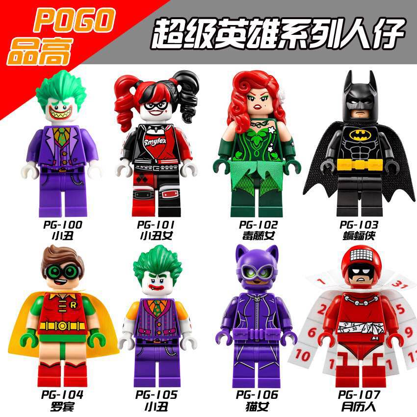 Harley Quinn Joker Batman Catwoman Robin Poison Ivy Calendar of People Super Heroes Minifigures Building Blocks Kids Toys PG8032