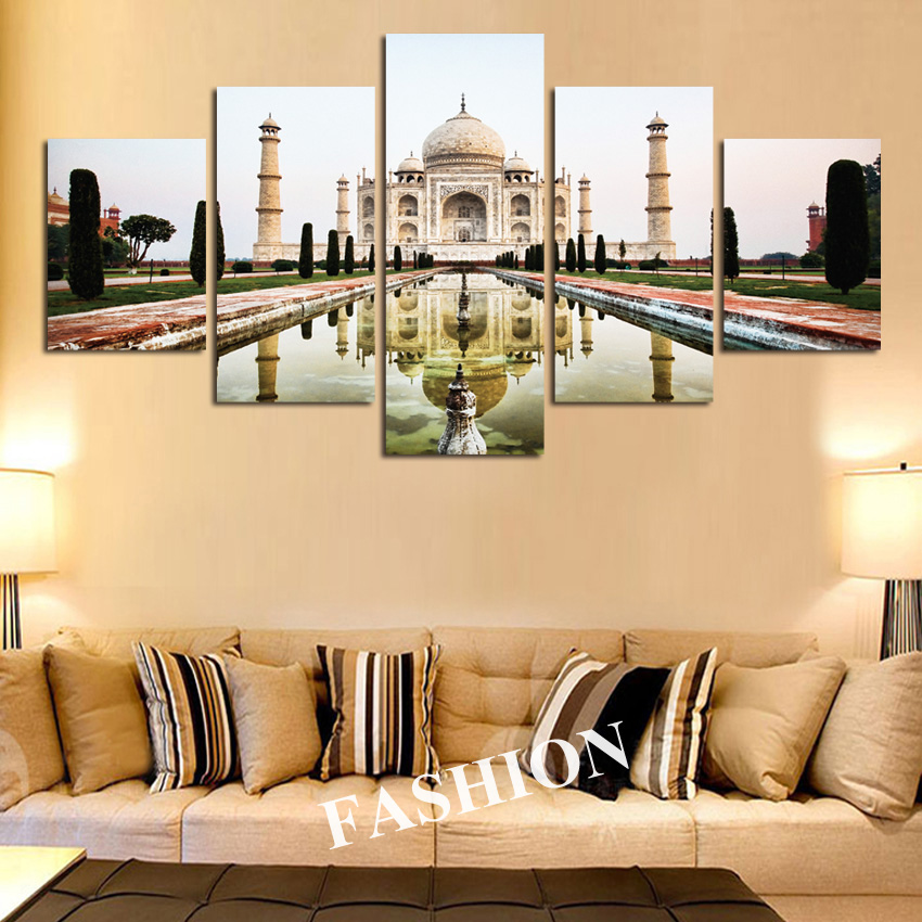 5pcs Modern Simple India Taj Mahal shadow landscape poster canvas ...