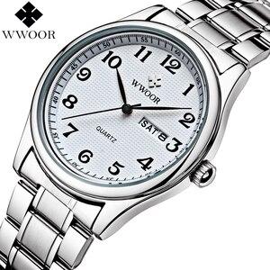 Image 3 - Relogio Masculino WWOOR Merk Kalender Heren Quartz Horloge Mannen Casual Sport Horloges Mannelijke Klok Luxe Rvs Polshorloge