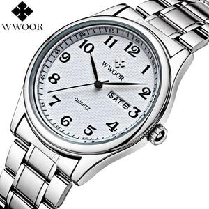 Image 3 - WWOOR reloj de cuarzo para hombre, reloj Masculino de pulsera, deportivo, informal, de acero inoxidable