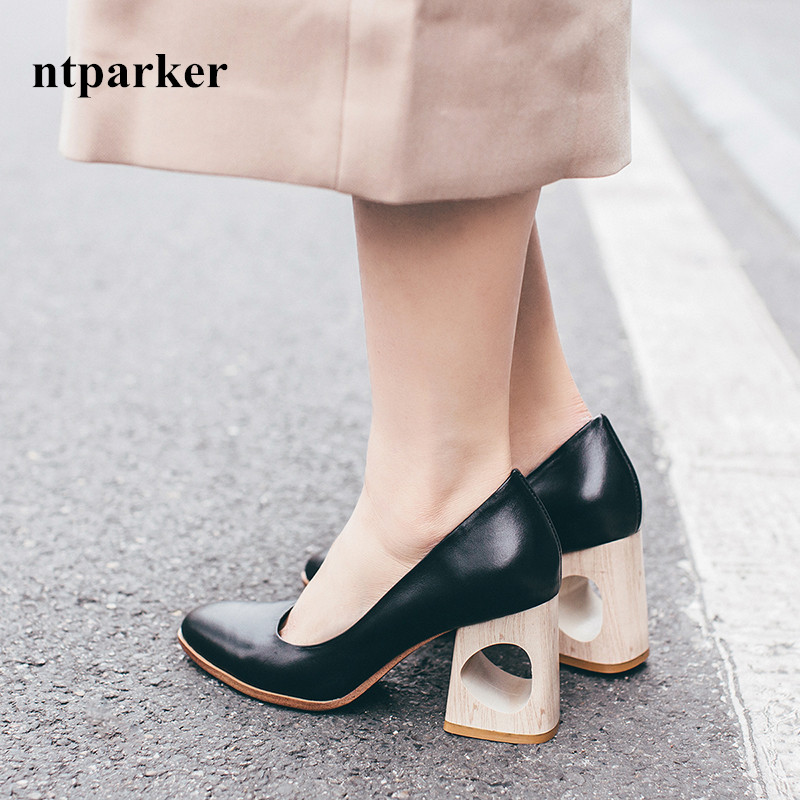 2017 Spring Fashion Women Thick Heel Dress Pumps Cutout High Heels Wedding Shoes Woman Pointed Toe Zapatos Mujer Prom Stilettos 2017 new spring summer shoes for women high heeled wedding pointed toe fashion women s pumps ladies zapatos mujer high heels 9cm