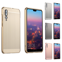For Huawei P20 Pro Case Brushed mirror Back Cover for Plus Plating Aluminum Metal Frame