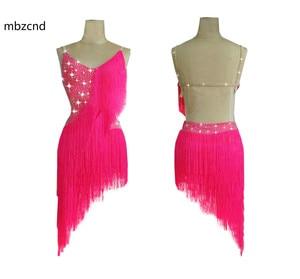 Vestido de baile latino brillante con diamantes de imitación, vestido latino con flecos profesional personalizado para mujer, falda Rosa dinámica de rendimiento sexi para mujer