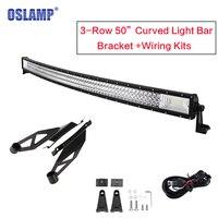 Oslamp Tri ряд 50 дюймов изогнутые свет бар Offroad светодиодный свет с верхней лобовое стекло для Toyota Tundra 2007 ~ 2014