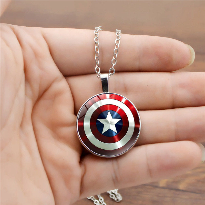 New Avengers Endgame Captain America Cosplay Accessories Steve Rogers Round Shield Pendant Keychain jewelry Necklace Key Ring image