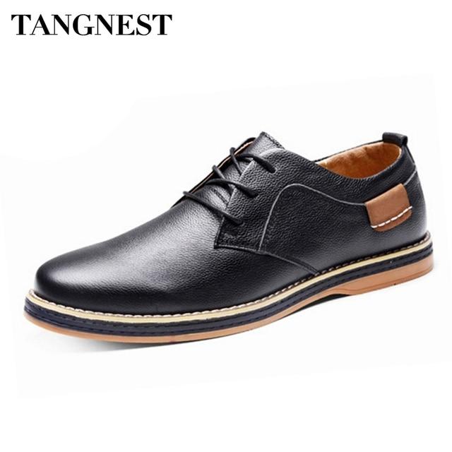 31b3c4b5706a Tangnest Robe Chaussures 2017 Nouveau Formelle de Style Britannique Hommes Chaussures  Classique Main-fait En