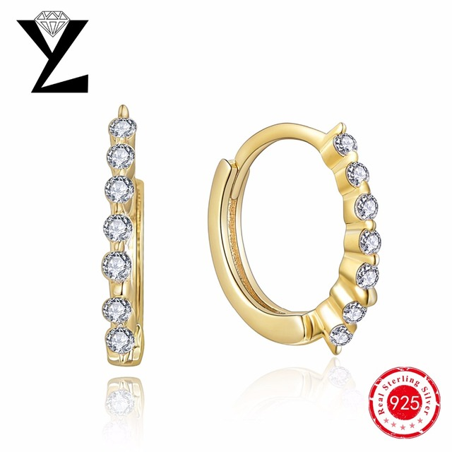 925 prata esterlina brincos de argola para as mulheres com strass banhado a ouro AAA + CZ diamante de luxo famosa marca de jóias por atacado