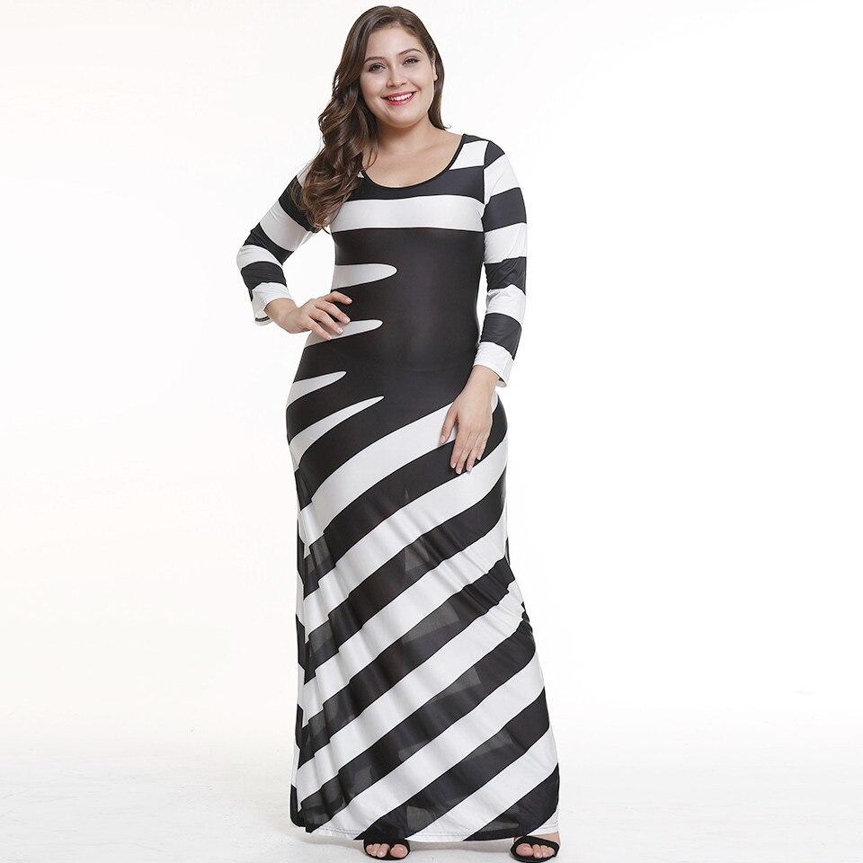 5xl Women Autumn O neck Striped Dress Fashion Black White Striped ...