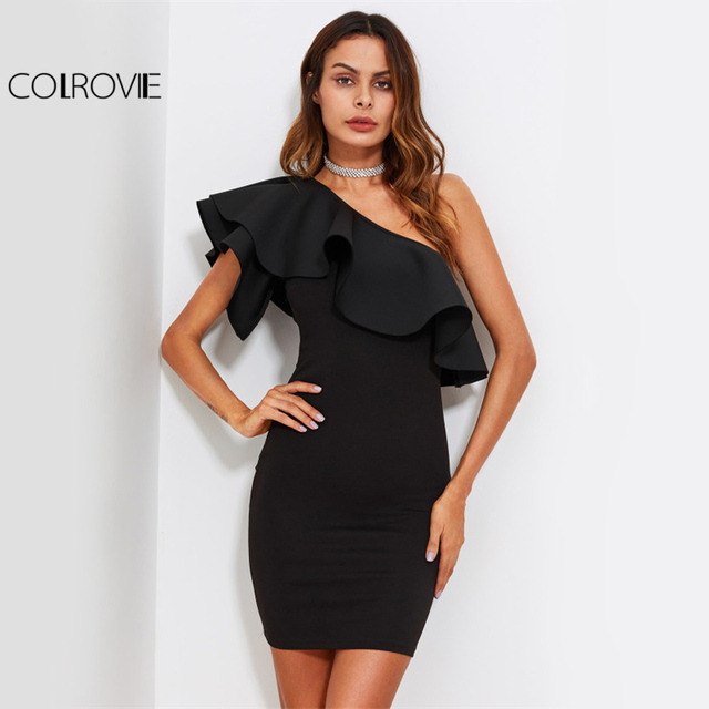 077dabcedceea COLROVIE One Shoulder Off Elegant Party Dress Women Ruffle Form Fitting  Bodycon Summer Dresses Flounce Sexy Mini Club Dress