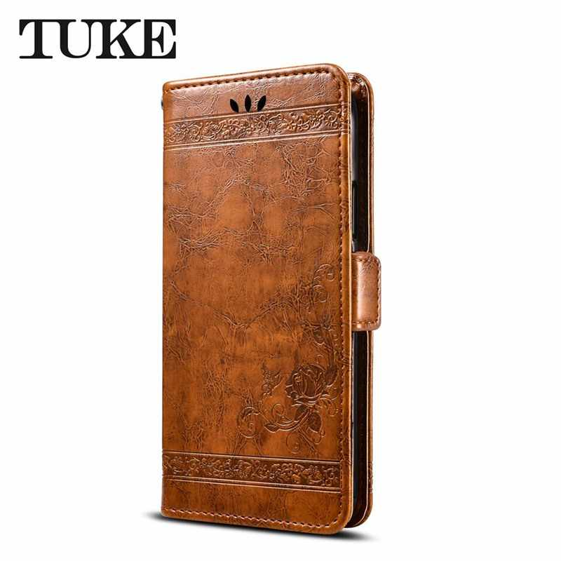 TUKE Wax Leather Case For OPPO F11 Realme 3 Pro X Reno 10X Zoom Z Cover Wallet Flip Case Mobile Phone Case Embossed Flower