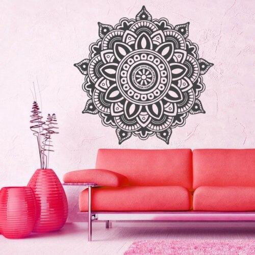 Mandala Menhdi Om Hindistan Hindu Budda Divan Dekoralı Vinil Etiket - Ev dekoru - Fotoqrafiya 4