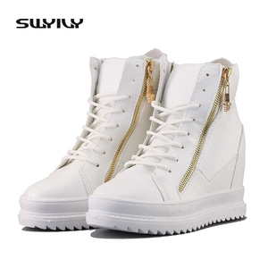 Image 2 - SWYIVY Women Sneaker White High Top Canvas Shoes Wedge Platform Sneakers Women Winter/summer Sneakers Wedge Shoes For Woman