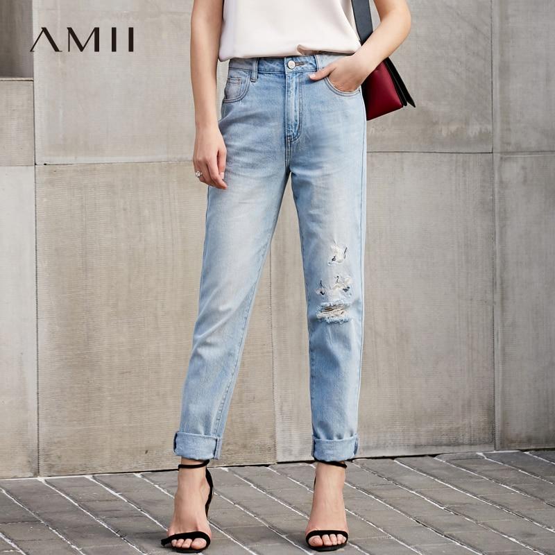 Amii для женщин Минималистский джинсы 2018 вышивка прямые синие Bleach Wash Distressed женский брюки для девочек