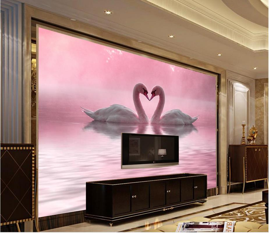 modern living room wallpapers Romantic beautiful love Swan Lake ...