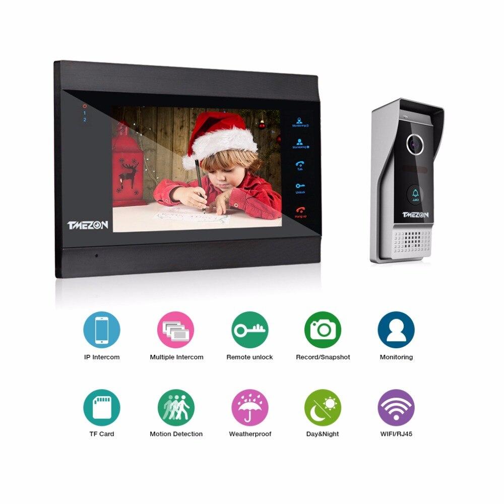 TMEZON 7 pouces sans fil/WiFi Smart IP système d'interphone vidéo avec 1x1200TVL filaire sonnette caméra, Support déverrouillage à distance - 2
