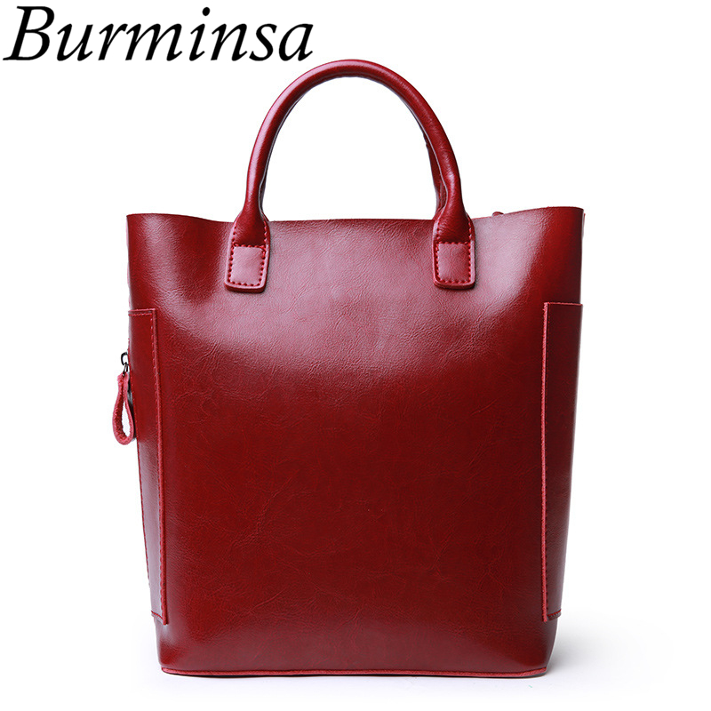 Burminsa Brand Cowhide Split Leather Bags Bucket Shopping Tote Bags Designer Handbags Ladies Shoulder Crossbody Bags For Women genuine leather fashion women handbags bucket tote crossbody bags embossing flowers cowhide lady messenger shoulder bags