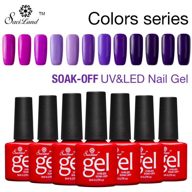 Saviland 12pcs Series Colors Esmaltes Soak Off UV Gel Nail Varnish Gradient Bright Colors Esmaltes Led Shining Gel Vernis