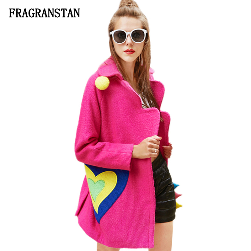 2018 Women Autumn Winter Fashion Personality Woolen Coat Female Love Printed Embroidery Sweet Parkas High Quality Vestidos JQ337-in Wool & Blends from Women's Clothing    1