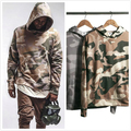 Kpop Clothes 2016 New Arrivals Camouflage Pattern Justin Bieber Military Style Camo Layered Hoodies Free Shipping