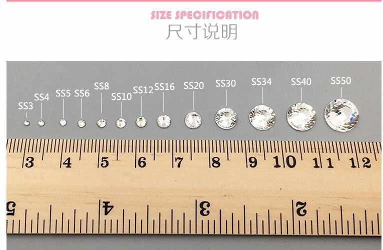 MIX Größe Farbe 3D Nail art Ss6-ss20 Flache Rückseite Kristall Dekoration Kleber auf Strass für Nagel Stein Diy Shose und telefon Shell