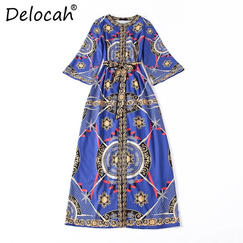 Imprimé Delocah Vintage Haut Robes Piste Femmes Ceinture Mode Longue Lâche  Design Robe De Partie 2018 Split ... c5f2c09dacd