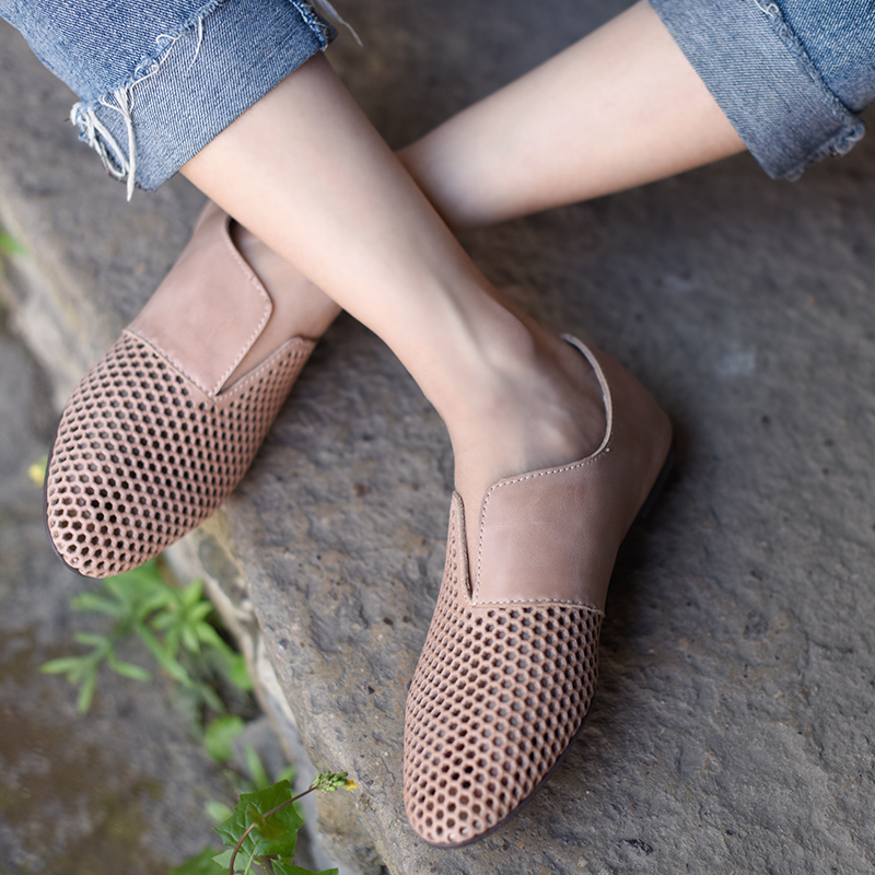 Artmu Women s Shoes Loafers Hollow Casual Shoes Woman Ballerina Handmade Genuine Leather Shoes Flats Lady