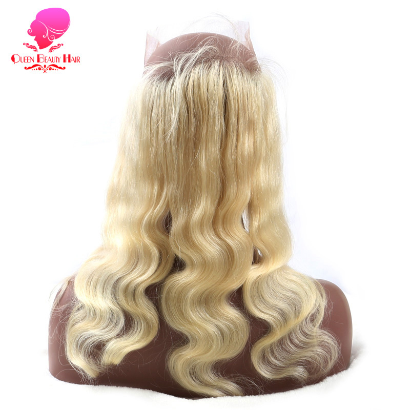 QUEEN BEAUTY HAIR Pre Plucked 613 Blonde 360 Lace Frontal Closure Body Wave Remy Brazilian Hair