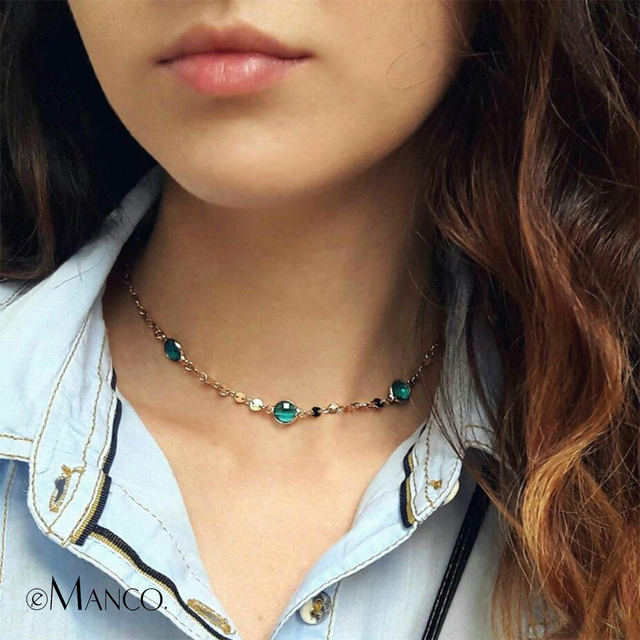 eManco Blue Crystal Choker Necklace Beads Making Charming Copper Chain Lady Gift