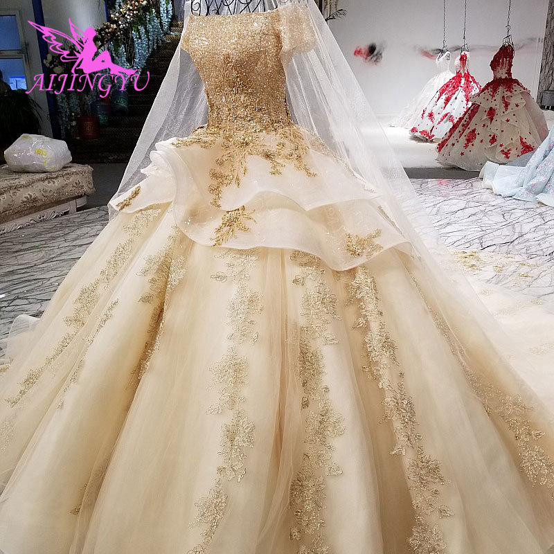 Image 2 - AIJINGYU Elegant Wedding Gown Gowns With Sheer Back Royal Sexy Online Usa Sheer 2018 Wedding Dress With SlitWedding Dresses   -