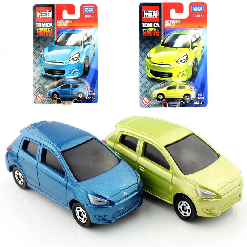 2pcsset tomy tomica kids mitsubishi mirage diecast models race cars vehicle loose durable play toys cheap wheels for children