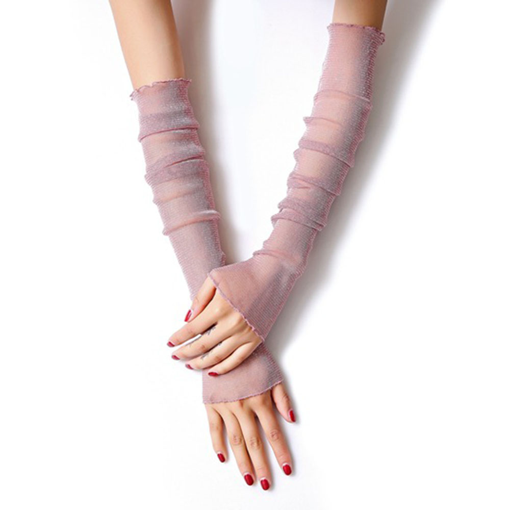 MQUPIN Sun Protection Sleeve Summer Driving Ice Sleeve Thin Mesh Yarn Cover Dual-use Ice Silk Gloves Lace Filigree