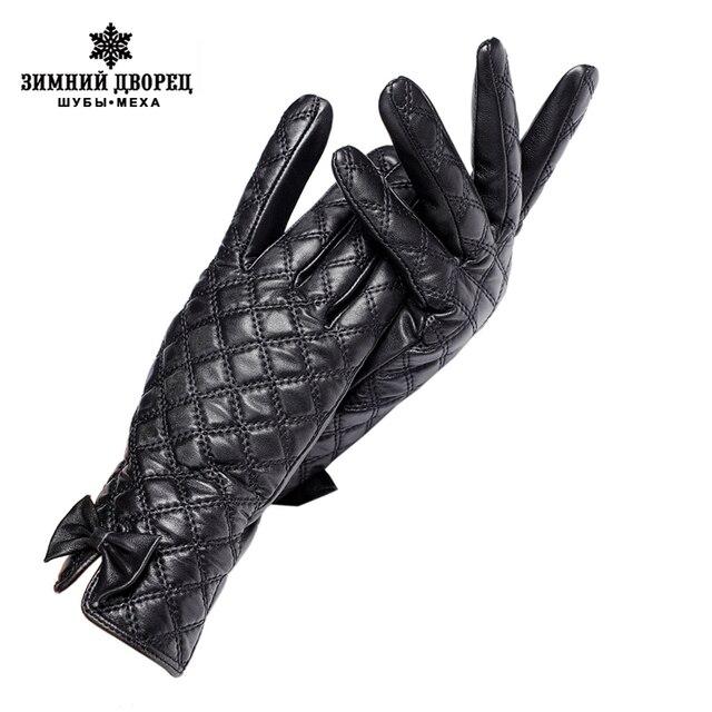 Кожаные перчатки женщины Натуральная кожа Черная кожаная перчатка, Перчатки Центральное украшение бабочки Женские перчатки Качество бренда