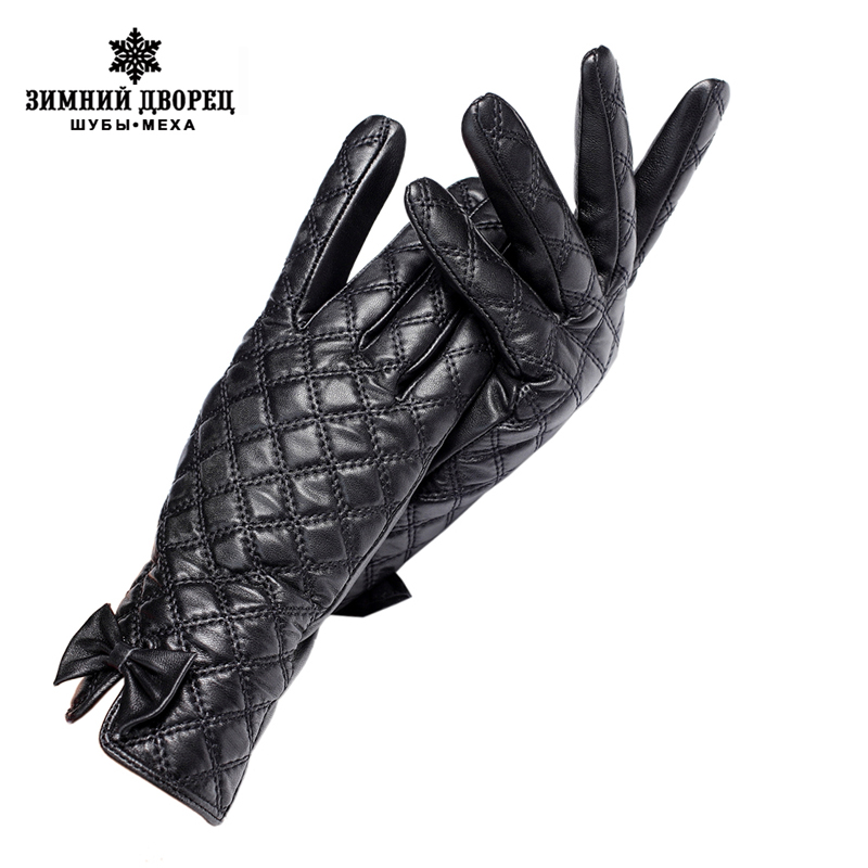 GIoves Women,GIoves Central Butterfly Decoration,Genuine Leather,Black Checkered Leather GIoves,Female GIoves,Brand Quality
